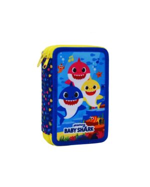Filled 3 Zipped Round Pencil Case Baby Shark___TM1004E-9295