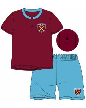 Boys West Ham Football Shortie Pyjama Set 3-12 Years PL898