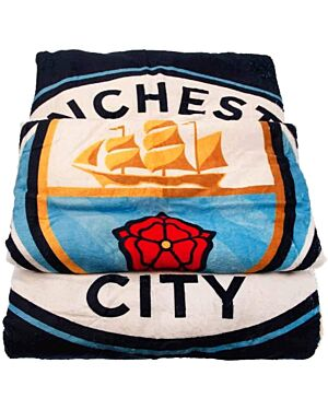 MCFC Giant Manchester City Football Club Printed Luxury Fleece Sherpa Plush Blanket With Team Crest PL0206