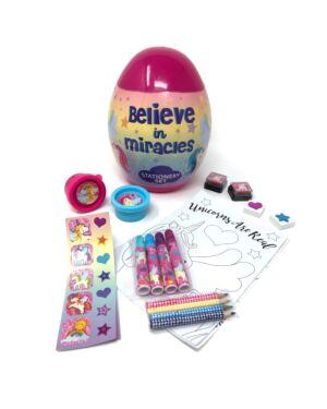 Egg Shaped Filled Stationery Set Unicorn___TM37361-7717
