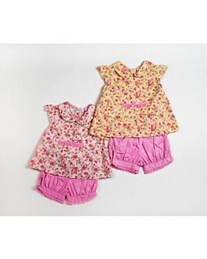BABY 2PC ROMPER AND BLOOMER SHORTS WITH LACE DETAIL MJ5511