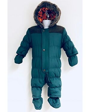 BABY EXCHAINSTORE QUILTED WINTER SNOWSUIT WITH FUR TRIM EDGES AROUND THE HOOD QA794