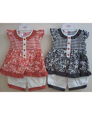 BABY GIRLS BUTTON DRESS WITH PRINT SET QA4070