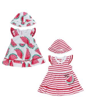 BABY GIRLS WATERMELON DRESS WITH HAT SET BABY GIRLS WATERMELON DRESS WITH HAT SET td9106