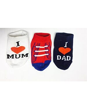 BABY WITH MUM AND DAD 1 LOVE YOU SOCKS