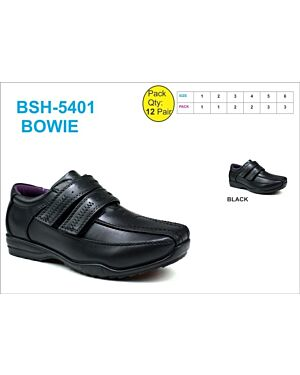 BOYS SCHOOL SHOE BSH-5401 (BOWIE) BLACK 1-6(1-1-2-2-3-3)=12 BOX U.S.BRASS PL3010