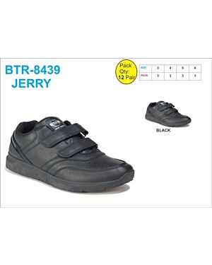 Older Boys shoe MSH-8438 (JERRY) BLACK 7-12(1-2-3-3-2-1)=12 BOX U.S.BRASS PL3017