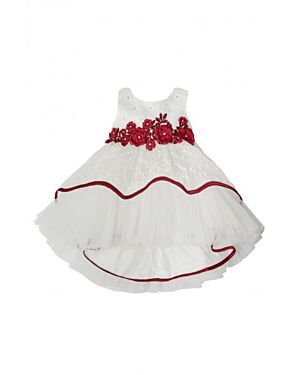 GIRL PARTY DRESS WITH FLOWER DESIGN EMBROIDERY SLEEVELESS QA1015