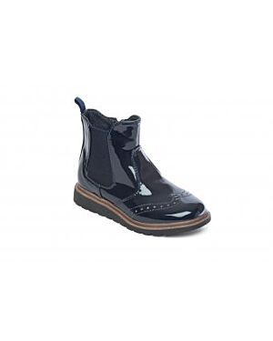 Girls Bonnie Black Fashion Boot Petasil Girls Bonnie 4975 Black Leather School Shoes 4975: