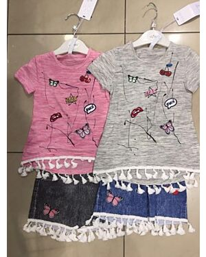 GIRLS FASHIONABLE PRINTED BUTTERFLY TOP WITH SHORTS WITH TASSELS  TD9143