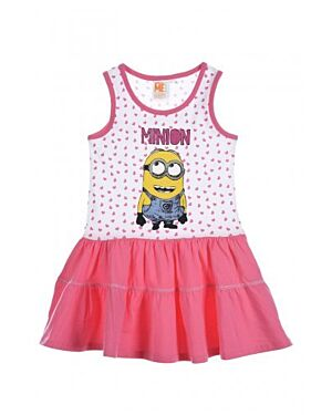 GIRLS EX CHAIN STORE ALLOVER PRINTED MINIONS SLEEVELESS DRESS TD10380