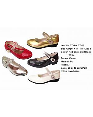 GIRLS PARTY FASHIONABLE SHOE WITH DIAMANTE STRAP  MJ6028