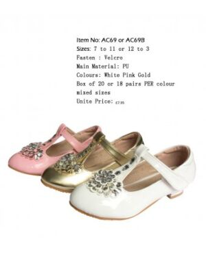 Girls Party Shoes With Flower Design on Them QA211