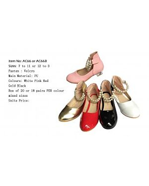 Girls Party Shoes With Pearls  QA208