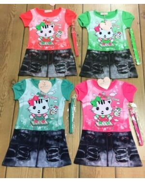 GIRLS PRINTED KITTY SUMMER DRESS GIRLS PRINTED TD10266