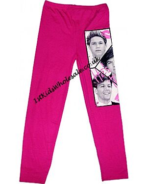 Girls Celebrity Printed Leggings Girls One Direction Print Design Leggings (Color: Black, Material