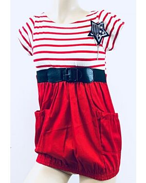Girls Stripe Dress Girls Embroidered Crop Top & Legging Set MJ5492