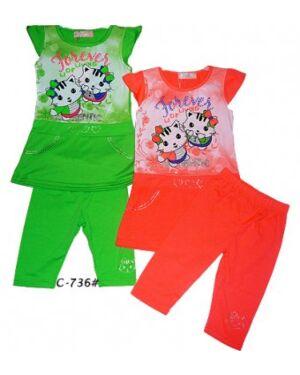 GIRLS 2 PIECE PRINTED KITTY SET - MJ5146