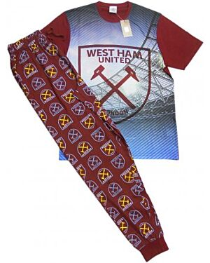 MENS WEST HAM UNITED PYJAMAS WITH SHORT SLEEVE TOP AND LOUNGE PANTS SET - TD10273