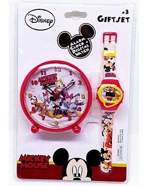 MICKEY MOUSE ALARM CLOCK AND WATCH GIFT SET 10355