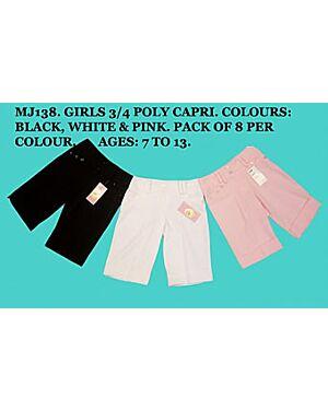 GIRLS 3/4 CAPRI SHORT MJ138