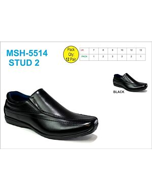OLDER BOYS SCHOOL SHOE MSH-5514 (STUD 2) BLACK 7-12(1-2-3-3-2-1)=12 BOX U.S.BRASS PL3012
