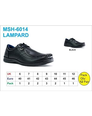 OLDER BOYS SCHOOL SHOE MSH-6014 (LAMPARD) BLACK 6-12(1-2-2-3-2-1-1)=12 BOX U.S.BRASS PL3013