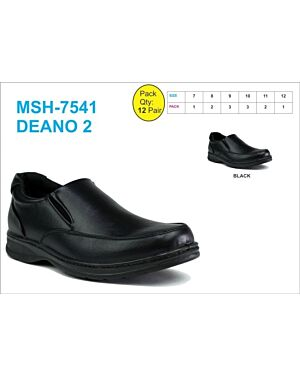 BOYS SCHOOL SHOE MSH-7541 (DEANO 2) BLACK 7-12(1-2-3-3-2-1)=12 BOX U.S.BRASS PL3015
