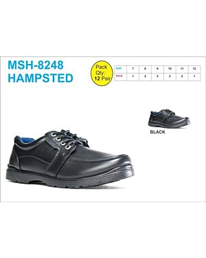 OLDER BOYS SCHOOL SHOES MSH-8248 (HAMPSTED) BLACK 7-12(1-2-3-3-2-1)=12 BOX U.S.BRASS PL3016