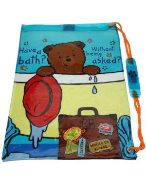 Paddington Bear Waterproof Blue Tote Swim Gym Bag Shoulder Strap PL573