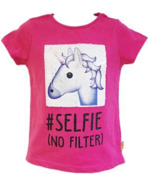 Official Girls Nutmeg Emosh Unicorn Selfie No Filter Pink Tshirt age 4 to 14 Years  PL738
