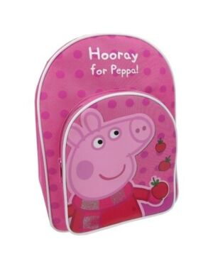 Official Girls Peppa Pig With Apple Hooray For Peppa Backpack With Front Pocket Pink PL743