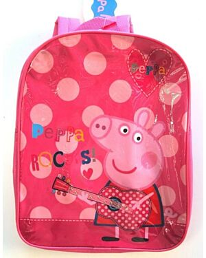 Official Peppa Pig With Guitar Peppa Rocks Pink/Red Backpack PL744
