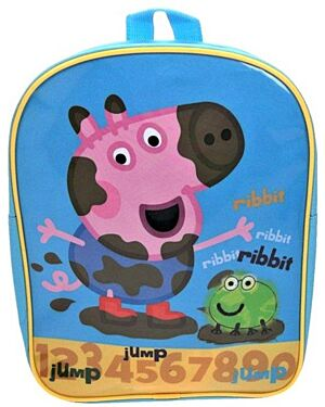 Official Peppa Pig And Frog Jump Ribbit Deluxe School Backpack Children Skyblue  PL748