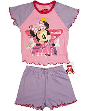 Disney Minnie Mouse Be The Star You Are! Girls Pink Shortie Pyjamas PL751