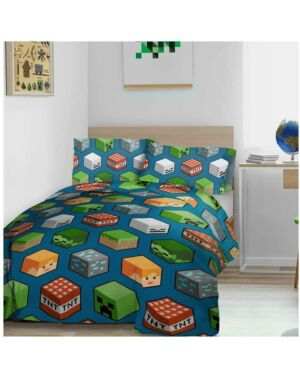 Minecraft Isometric Charcaters Teddy Duvet Set Double CCC0092