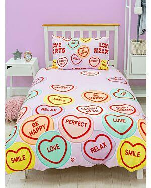 Love Hearts Happy Rotary Duvet Set Single CCC0085