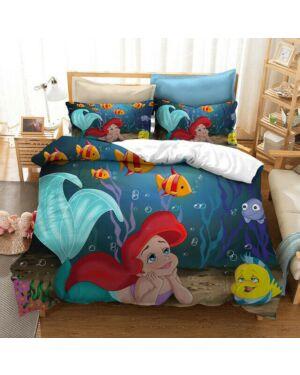 Little Mermaid Believe PANEL ( PolyCotton) W Duvet Set Double CCC0072