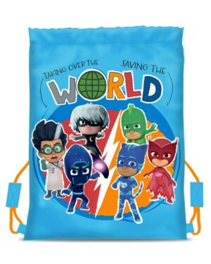 Pj Masks Cool Light Blue Drawstring School Pe Gym Trainer Bag Brand New Gift PL010