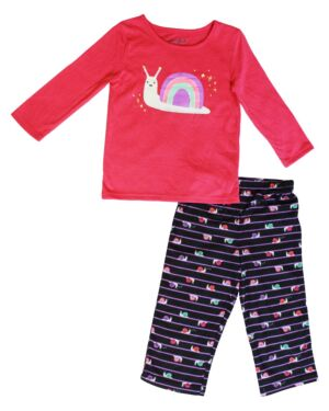 Girls pyjamas with a printed snail Design all over on the jogging bottom PL0237