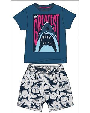 BOYS EXCHAINSTORE SHARK SHORT PRINTED PYJAMAS PL716