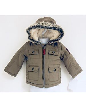 CHILDRENS EXCHAINSTORE QUILTED WINTER COAT WITH FUR TRIM AROUND THE HOOD QA793