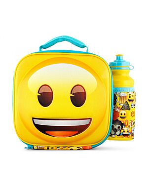 Emoji Icons Happy Face 3d Lunch Bag with Bottle Box QA619