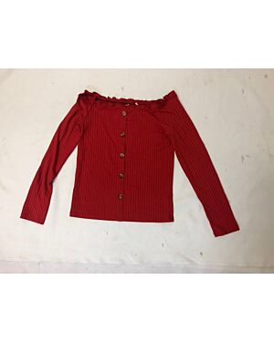 Girls Ex Chain Store Fashionable Buttons Long Sleeve Top PL293