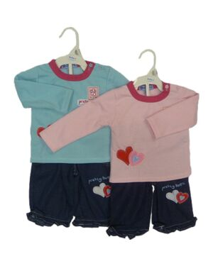 BABIES GIRLS 2 PCS SET WITH LOVE HEARTS ON TD3232