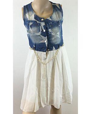 Girls Summer Fashionable Sleeveless Dress With A Frill Skirt TD9177
