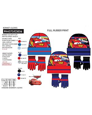 Lightning McQueen Cars hat and glove set TD8424