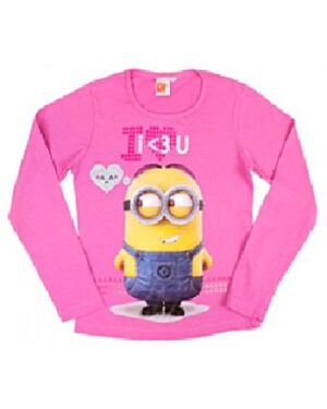 Minions Girls Pink I love you Long Sleeve Top TD10073
