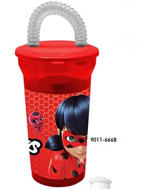 MIRACULOUS LADY BUG TUMBLER CUP WITH STRAW SIPPER 15 OZ DRINKING CUP TD9419